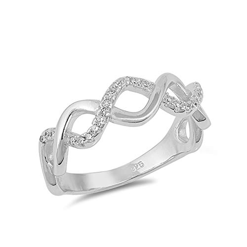.925 Sterling Silver Cubic Zirconia Intertwined Open Braid Ring ()