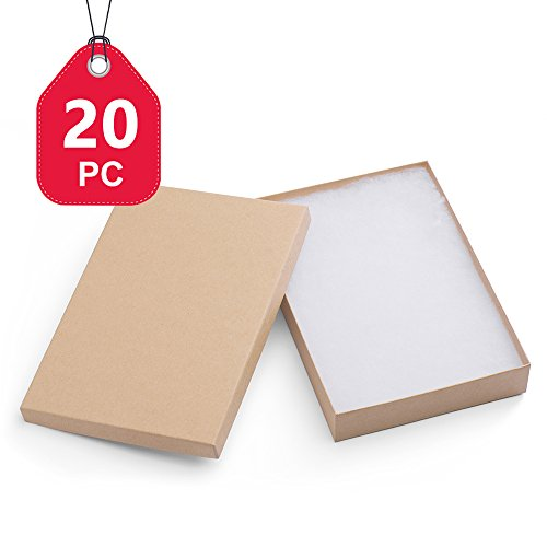 MESHA Cardboard Paper Box for Jewelry and Gift 8x5.5x1.25 Inch Thick White Paper Box With Cotton Lining (20pcs, Brown) by MESHA