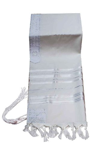 100% Wool Tallit Prayer Shawl in White and Silver Stripes Size 47'' L X 68'' W (Size 50) by Talitnia
