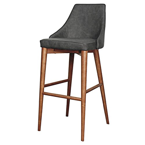 Erin Leather (New Pacific Direct Erin PU Leather Counter Stool,Walnut Brown Legs,Antique Gray)