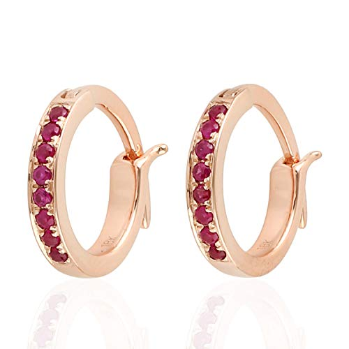 Micropave-Set Ruby Huggie Hoop Earrings in 18K Rose Gold
