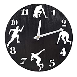 Artsay 12 Inch Athletics Wooden Wall Clock Battery Operated Silent Non Ticking Analog Clocks for Home Kitchen Office School, Black