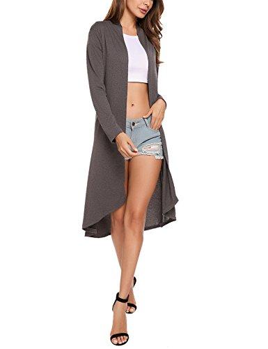Femme Long Haut Capuche Ouvert Manche Gilet Uni Fonc1 Cardigan Casual Gris Meaneor Longue wt6ZnTqx