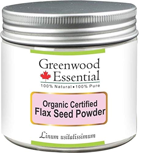 (Greenwood Essential Pure Flax Seed Powder (Linum usitatissimum) Organic Certified 100% Natural Therapeutic Grade 200gm)