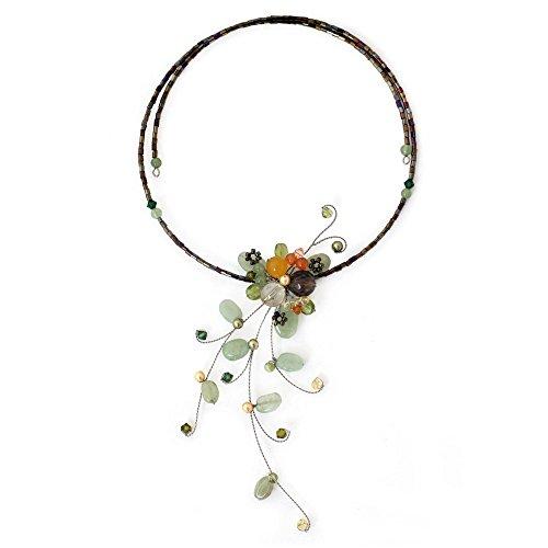 (NOVICA Multi-Gem Aventurine Stainless Steel Choker Necklace, 19