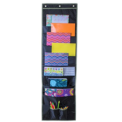 Hanging File Folder Organizer Storage Pocket Chart 10 Large Pockets and 2 Office Accessory Pockets, Reinforced No Tear Seams in Gray (Single 10 Pocket)