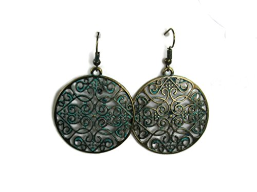 BOLD Dangle Fashion Filagree Metal Styles Statement Earrings Vintage Retro BOHO Patterns (Heart Filagree Gold-Tone Circle) ()