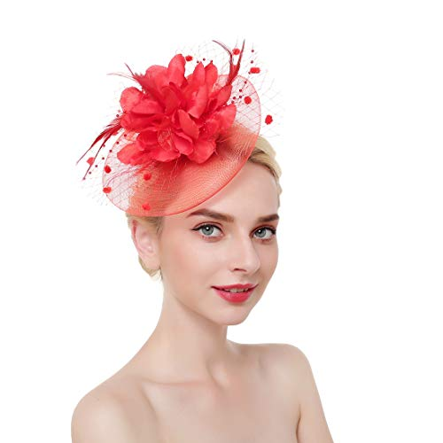 Fascinator Hair Clip Wedding Party Hat Tea Hat (red) ()