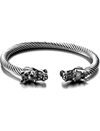 Elastic Adjustable Mens Dragon Bracelet Steel Twisted Cable Bangle Cuff Bracelet Polished