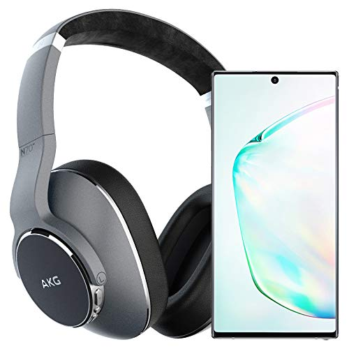 Samsung Galaxy Note 10+ Plus Factory Unlocked Cell Phone with 256GB (U.S. Warranty), Aura Glow (Silver) Note10+ w/AKG N700NC Headphones