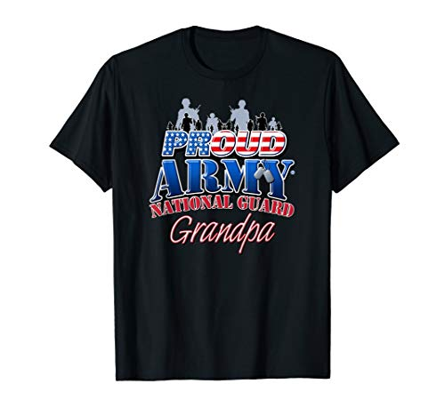 Proud Army National Guard Grandpa US Dog Tag Shirt ()