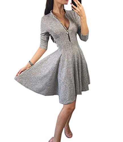 3fc5b865a8e Mansy Women s Casual 3 4 Sleeve A Line Zipper Front Skater Swing Dress