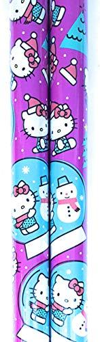Christmas Wrapping (Bonus Jiggy Themed Writing Tool) Holiday Paper Gift Greetings 1 Roll Design Festive Hello Kitty ()