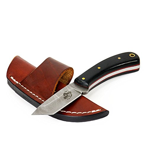 "Knives Ranch Damascus Steel Knives - 6 1/2"" Fixed Blade Tanto Knife with Black Micarta Handle INCLUDES Leather Sheath"