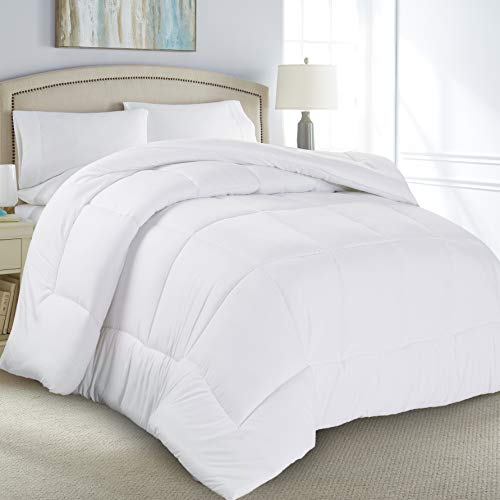 Luxury Soft All Season White Down Alternative Comforter- Hypoallergenic, Box Stitched- Plush Microfiber fill, Machine Washable, Duvet Insert Full Size