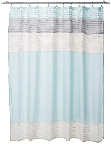 Madison Park Amherst Fabric Aqua Shower Curtain,Pieced Transitional Simple Shower Curtains for Bathroom, 72 X 72, Blue (Striped Dupioni Curtains Silk)