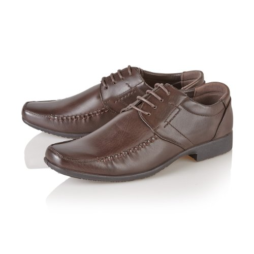 Mens brown patent Guciani smart office wedding party stitch design Shoes Brown D7XRvmAut