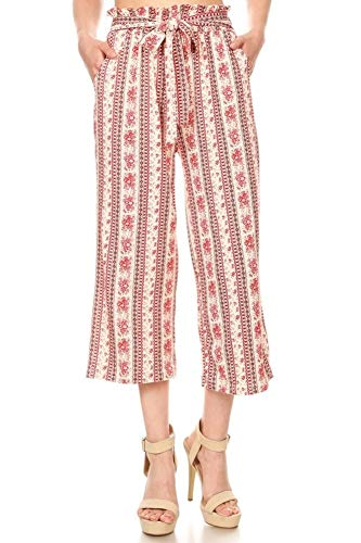 ShoSho Womens Paper Bag Waist Cropped Pants Casual Wide Leg with Pockets
