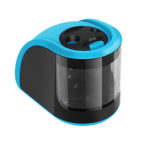 Pencil Sharpener UrBen Electric Automatic Pencil Sharpener with Double Holes and Replaceable Blades, Battery operated, Cordless and Portable for School Classroom, Home Study, Office Use - Blue