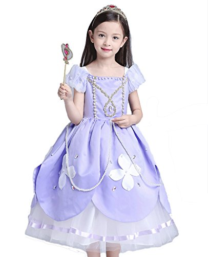 Transforming Costumes (Girl's Sofia's Transforming Dress Princess Costume Toddlers Cosplay Ball Gowns (6Y, Lilac))