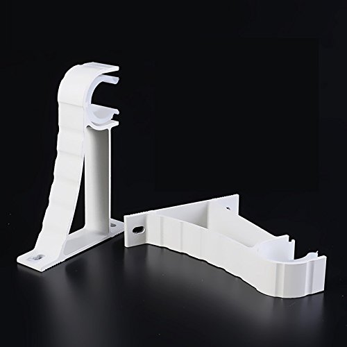 Easy2hang Self Lock Drapery Curtain Rod Wall Mount Bracket 2pcs white 25mm/ 1