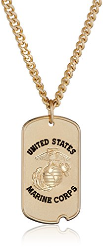 Marine Dog Tag Pendant - Men's 14k Gold-Filled United States Marine Corps Saint Michael Dogtag Medal with Gold Plated Stainless Steel Chain Pendant Necklace, 24