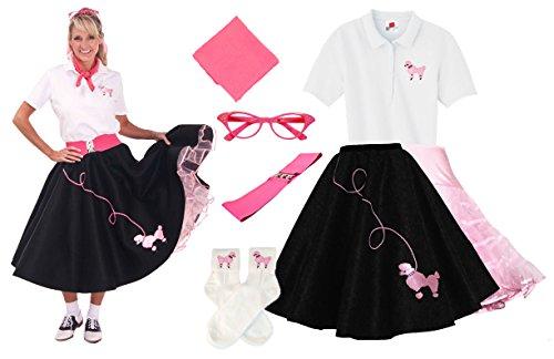 Hip Hop 50s Shop Adult 7 Piece Poodle Skirt Costume Set Black and Pink XLarge by Hip Hop 50s Shop (Image #1)