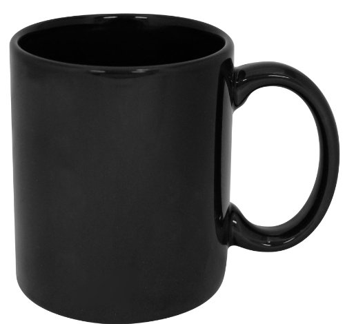 Plain Big - Funny Guy Mugs Plain Black Ceramic Coffee Mug, Black, 11-Ounce