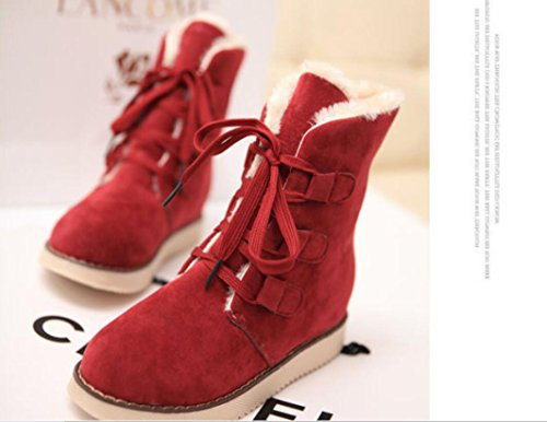 padded winter 7660CM leisure RED boots shoelace Warm plush NSXZ snow shoes HxC5qwE5P