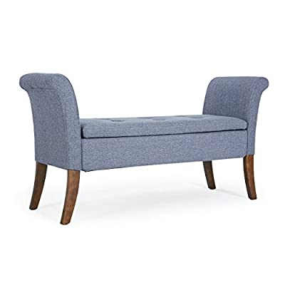 Belleze Modern Upholstered Storage Bench Top Seat Cushion Settee Living Room Armrest Button Tufted Wood Legs, (Gray) - The legs on each living room loveseat are diligently designed with a classic and chic, natural brown stain finish. elegant blue color and tufted to give this sofa the perfect look! This modern belleze tufted button settee couch is carefully constructed with a substantial and unyielding, birch wood frame Living room settees are upholstered in the finest, elegant linen fabrics. each settee is finished with a timeless and sophisticated, hand-applied stained finish on wood legs. Gorgeous mid century modern style sofa/love seat with natural wooden legs - entryway-furniture-decor, entryway-laundry-room, benches - 41OC7s2rYjL. SS400  -