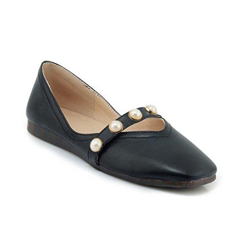 Zapatos de Tacón/Durante la Primavera y el Otoño Calcetín Código Grandes Zapatos de Mujer Zapatos Planos a los Estudiantes. black