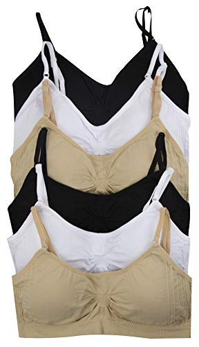 ToBeInStyle Womens Pack of 6 Simple Seamless Scoop Back Padded Bras (One Size, Basic)