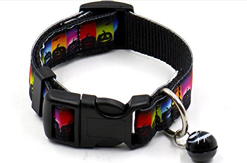 Dog Collar, FMJI Pet Gifts Adjustable Nylon Pet Collars with Small Bell for Halloween /Festival/ Party (black pumpkin bats, small 0.75-1.05Feet)