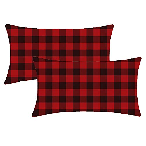 NIDITW Set of 2 Sister Gift Vintage Black and Red Buffalo Checkers Plaids Cotton Linen Decorative Lumbar Throw Pillow Sham Cushion Case Sofa Couch Outdoor Both Sides Oblong 12x20 inches (Rectangle)
