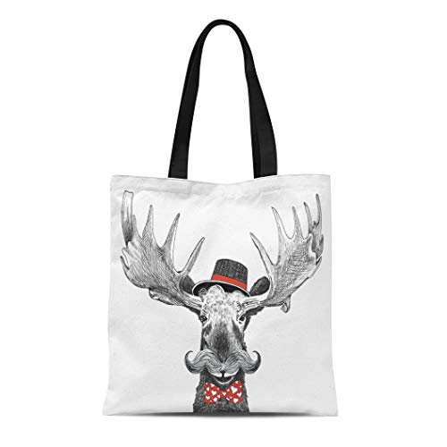 - Semtomn Cotton Canvas Tote Bag Valentines Day Cartoon Hipster Moose Large Handlebar Mustache Cool Reusable Shoulder Grocery Shopping Bags Handbag Printed