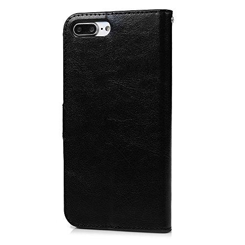 """Mavis's Diary Étui iPhone 7 Plus (5.5"""") Coque en Cuir Noir Bling Strass Fleur Papillon Housse Portefeuille Fente de Carte Étui à Rabat Fermeture Magnétique Flip Phone Case Cover+Chiffon"""