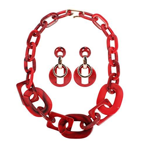 (Thkmeet Acrylic Twist Collar Chunky Choker Statement Chain Necklaces Boho Drop Dangle Earrings Women Jewelry Set (Red 1))