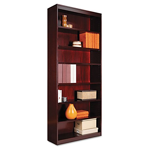 Alera ALEBCS78436MY Square Corner Wood Veneer Bookcase, Seven-Shelf, 35-5/8 x 11-3/4 x 84, Mahogany (Bookcase Wood 84)