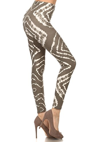 - N356-PLUS Taupe Tie Dye Printed Stylish Leggings