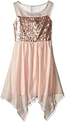 Sleeveless Dress with Sheer Yoke Sequin Top