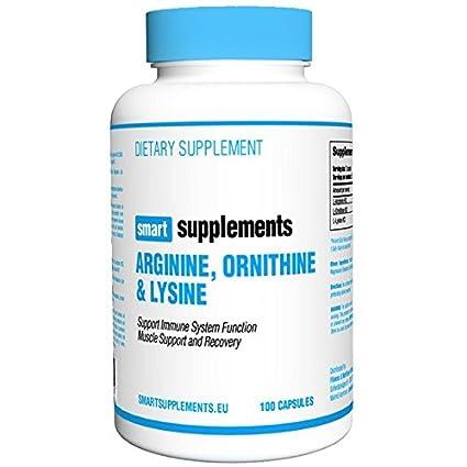 Smart Supplements Ornithine Lysine Arginine Aminoácido - 100 Cápsulas