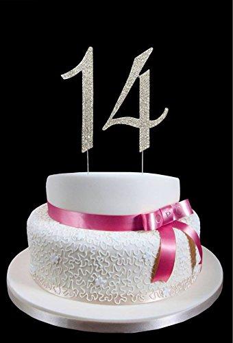 大きな数14日誕生日結婚記念日ケーキトッパー数とスパークリングラインストーンクリスタル – 4 1 / 2