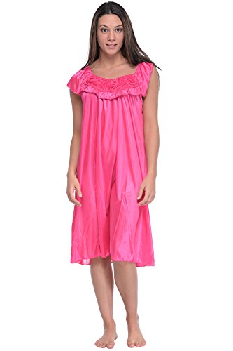 Cheap Casual Nights Women's Cap Sleeve Flower Silky Tricot Nightgown for cheap