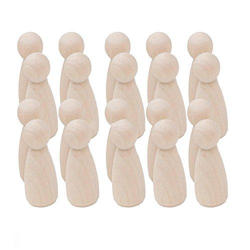 木製の男性 女性のペッグ 人形ペイント ソリッドウッドのおもちゃ 35mm 女性