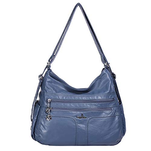 (Angelkiss Women's Multifunctional Shoulder Hobo Bag Soft Leather Messenger Crossbody Purse Satchels Handbags with Zipper Blue)