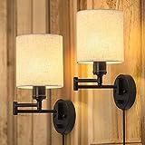 Plug in Wall Light Set of 2, Swing Arm Wall