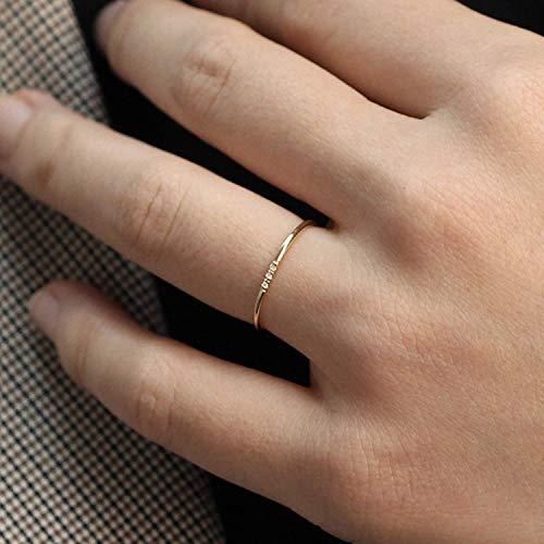 Minimalist Diamond Ring, 14k Solid Gold Diamond Band, 1mm Full Round Thin Ring with 1, 2, 3, 4 or 5 Stones .95 mm Diamond, Wedding Engagement Ring