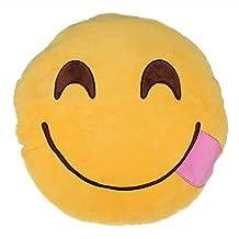 Sanheshun Cute 32cm Emoji Smiley Emoticon Round Cushion Pillow Stuffed Plush Soft Toy Gift (Laugh)