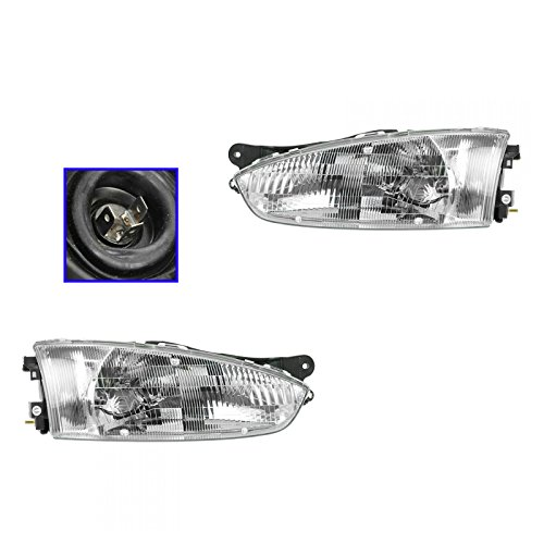 Headlights Headlamps Left & Right Pair Set for 97-02 Mirage 2 Door Coupe (Mitsubishi Mirage 2 Door Coupe)