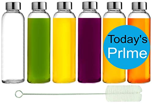 Brieftons Glass Water Bottles: 6 Pack, 18 Oz, Stainless Steel Leak Proof Lid, Premium Soda Lime,...